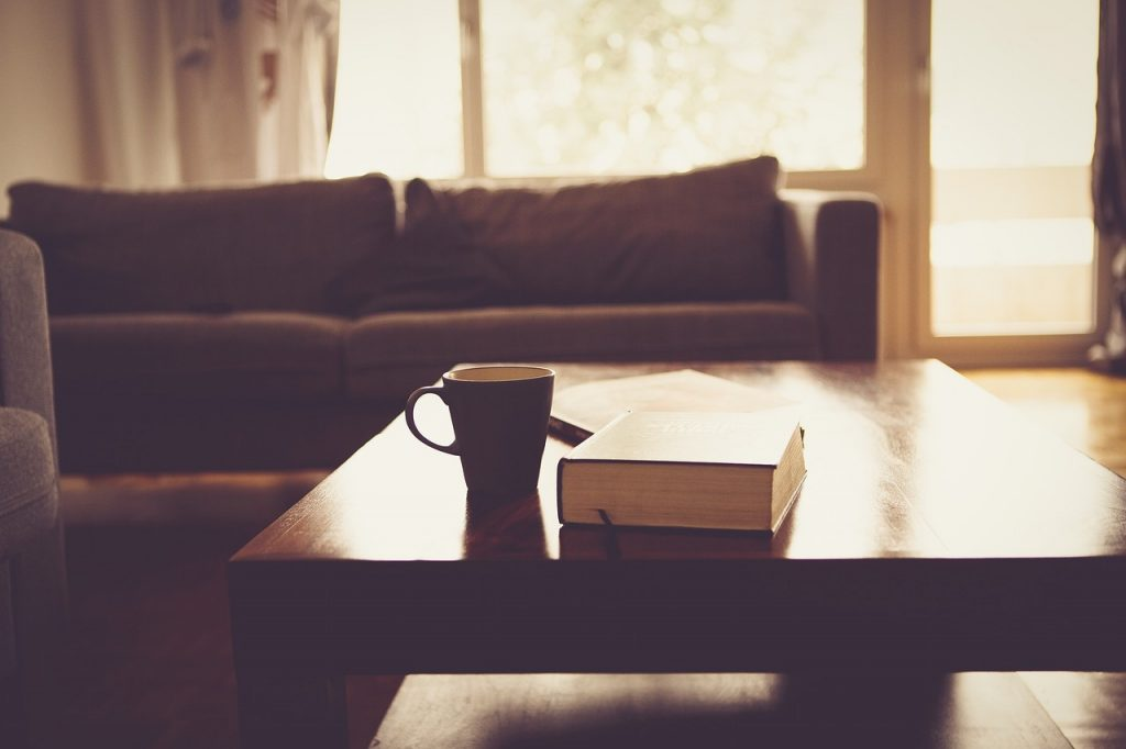 couch, mug, coffee table and book