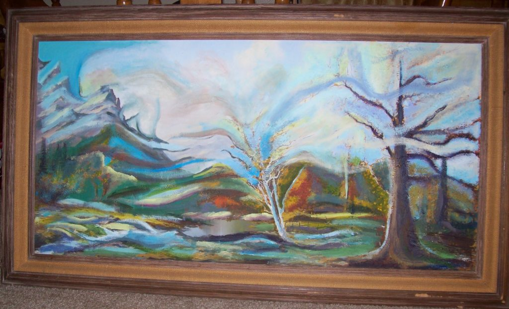"upcycled canvas surrealist landscape painting ""Spring Dream"" Alexis Donkin"