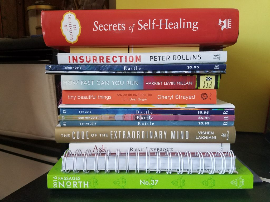 "My stack of ""to-be-read"" plus some ""read-but-no-shelf"" books"