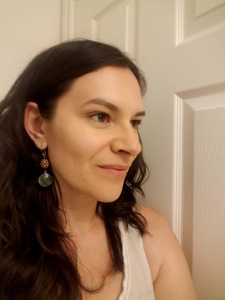 Me wearing my new labradorite earrings!